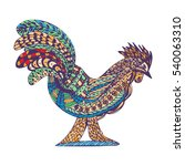 zentangle rooster  symbol of... | Shutterstock .eps vector #540063310
