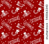 hand drawn christmas seamless... | Shutterstock .eps vector #540063340