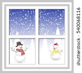 winter christmas window with a... | Shutterstock .eps vector #540068116