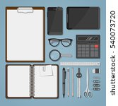 office business items in... | Shutterstock .eps vector #540073720