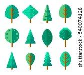 set of trees in trendy flat...   Shutterstock .eps vector #540074128