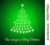 shining xmas tree made of bulbs ... | Shutterstock .eps vector #540079963