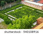 Garden in the courtyard of San Giorgio Monastery in Venice, Italy. It is located on the island of San Giorgio Maggiore
