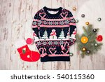 winter sweater with christmas... | Shutterstock . vector #540115360