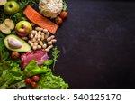 fresh vegetables  fruits  fish  ... | Shutterstock . vector #540125170