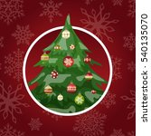 christmas tree with balls... | Shutterstock .eps vector #540135070