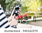 people hand pressing screen of... | Shutterstock . vector #540162370