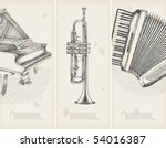 music theme drawings  retro... | Shutterstock .eps vector #54016387