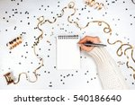 festivedecorations and notebook ... | Shutterstock . vector #540186640