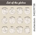 set of hand drawn globes ... | Shutterstock .eps vector #540199738