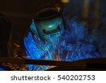 worker is welding metal with... | Shutterstock . vector #540202753