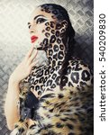 young sexy woman with leopard...   Shutterstock . vector #540209830