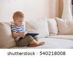 adorable blond toddler boy... | Shutterstock . vector #540218008