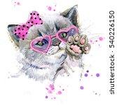 Cute Kitten. Watercolor Cat...