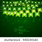 green festive flags with... | Shutterstock .eps vector #540234160