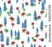 floral pattern blossom flowers... | Shutterstock . vector #540252439