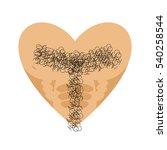 mans heart. tons torso. brutal... | Shutterstock .eps vector #540258544
