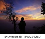 silhouette alone with nature on ... | Shutterstock . vector #540264280