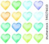 set of watercolor hearts. set... | Shutterstock . vector #540276610