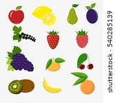 set of colorful cartoon fruit... | Shutterstock . vector #540285139