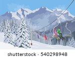 winter mountain landscape.... | Shutterstock .eps vector #540298948