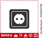 Power Socket Icon Flat. Simple...