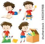 happy boy in four actions...   Shutterstock .eps vector #540345988