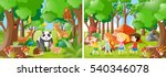 two forest scenes with kids and ... | Shutterstock .eps vector #540346078