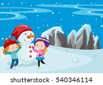 two kids and snowman in the... | Shutterstock .eps vector #540346114