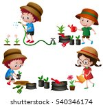 four kids watering and planting ... | Shutterstock .eps vector #540346174
