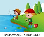 Two Boys Fishing By The River...