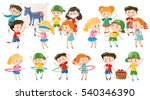 kids playing different games... | Shutterstock .eps vector #540346390