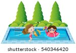 two girls swimming in the pool... | Shutterstock .eps vector #540346420