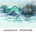 moonlight winter landscape .... | Shutterstock . vector #540349486