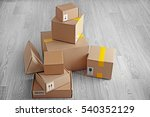carton boxes on floor | Shutterstock . vector #540352129