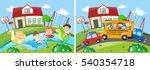 two scenes with children...   Shutterstock .eps vector #540354718