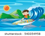 boy surfing on the giant wave... | Shutterstock .eps vector #540354958