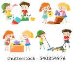 children doing different... | Shutterstock .eps vector #540354976