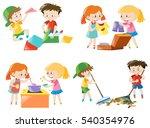 children doing different... | Shutterstock .eps vector #540354976