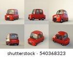 cute stylized red cartoon car... | Shutterstock . vector #540368323
