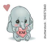 Stock vector cute little cartoon elephant 540371860