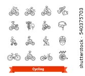 Bicycle Riders Thin Line Art...