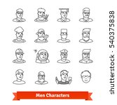 men character avatars. thin... | Shutterstock .eps vector #540375838