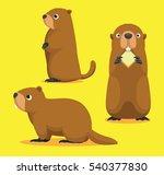Cute Marmot Cartoon Vector...