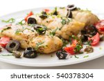 dish of boiled cod fish with... | Shutterstock . vector #540378304