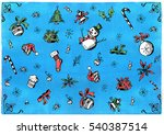 hand drawn christmas pattern | Shutterstock . vector #540387514