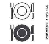 plate fork and knife line icon
