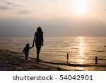 walk by on a sand by couple kid ... | Shutterstock . vector #54042901