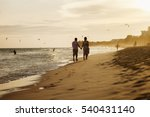 happy couple run on beach. sea... | Shutterstock . vector #540431140