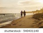 happy couple run on beach. sea... | Shutterstock . vector #540431140